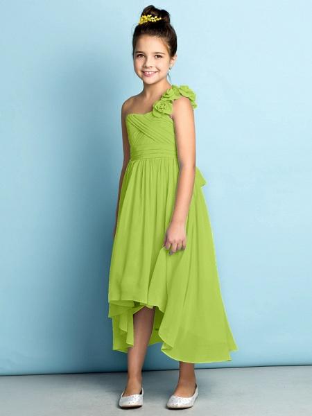 A-Line One Shoulder Asymmetrical Chiffon Junior Bridesmaid Dress With Criss Cross / Flower / Natural / Mini Me_31