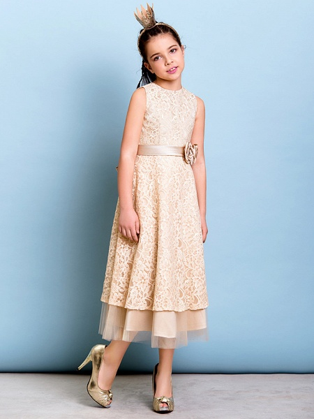 A-Line Jewel Neck Tea Length All Over Floral Lace Junior Bridesmaid Dress With Sash / Ribbon / Bow(S) / Flower / Natural_3