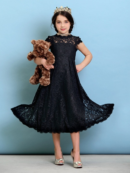 Princess / A-Line Jewel Neck Tea Length Lace Junior Bridesmaid Dress With Pleats / Natural_4