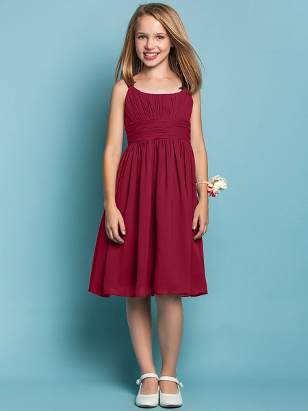 Sheath / Column Straps Knee Length Chiffon Junior Bridesmaid Dress With Ruched / Draping / Spring / Summer / Fall / Apple / Hourglass_14