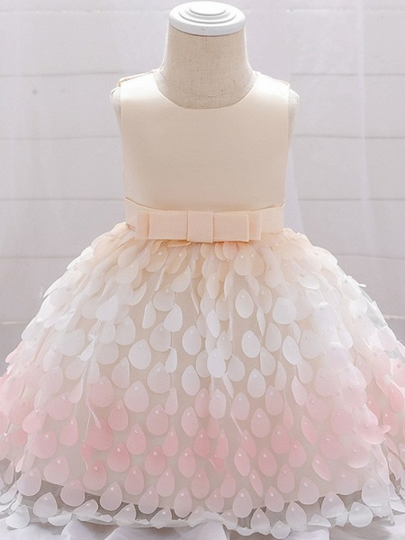Princess / Ball Gown Knee Length Wedding / Party Flower Girl Dresses - Satin / Tulle Sleeveless Jewel Neck With Sash / Ribbon / Bow(S)_7