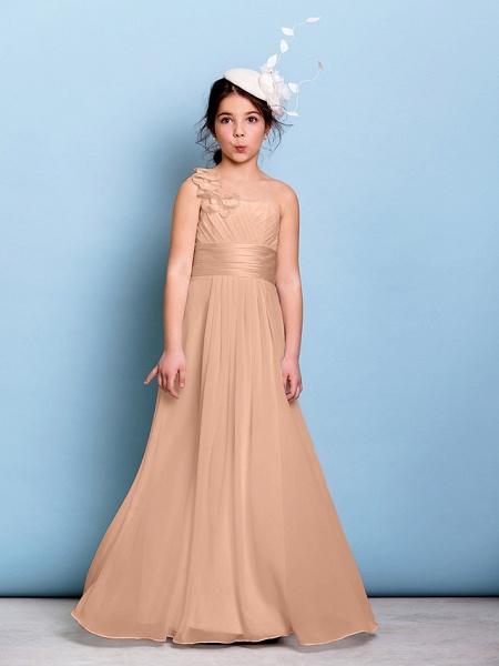 A-Line One Shoulder Floor Length Chiffon Junior Bridesmaid Dress With Sash / Ribbon / Criss Cross / Ruched / Natural_11