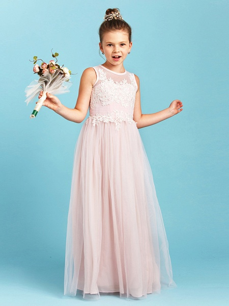 Princess / A-Line Jewel Neck Floor Length Tulle Junior Bridesmaid Dress With Pleats / Appliques / Wedding Party / See Through_1