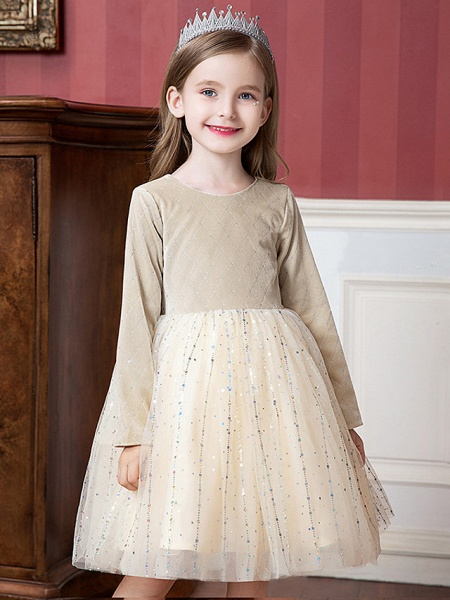 Princess / Ball Gown Knee Length Wedding / Party Flower Girl Dresses - Tulle / Velvet Long Sleeve Jewel Neck With Splicing / Paillette_1