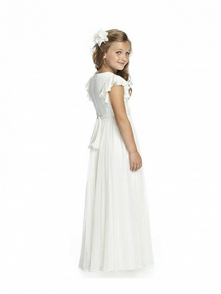 Sheath / Column Long Length Wedding / Birthday / Pageant Flower Girl Dresses - Chiffon Short Sleeve Jewel Neck With Cascading Ruffles / Ruching_2