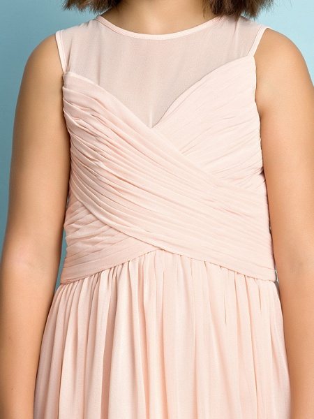 A-Line Jewel Neck Knee Length Chiffon Junior Bridesmaid Dress With Criss Cross / Natural / Mini Me_10