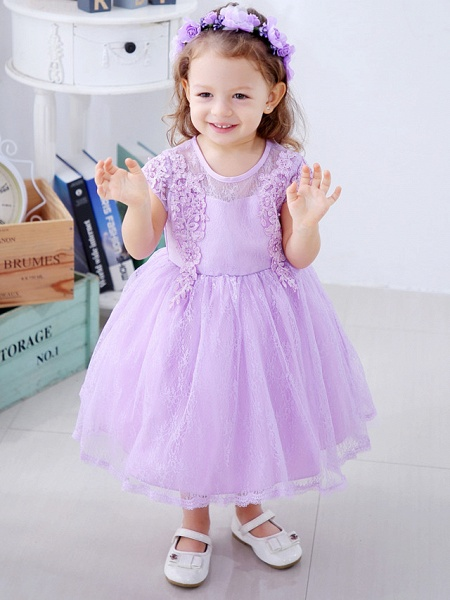 Ball Gown Medium Length Wedding / Party Flower Girl Dresses - Lace / Satin / Tulle Short Sleeve / Sleeveless Jewel Neck With Lace / Bow(S) / Appliques_2