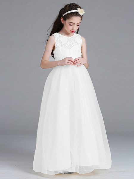 Princess / A-Line Round Floor Length Lace / Tulle Junior Bridesmaid Dress With Bow(S)_4