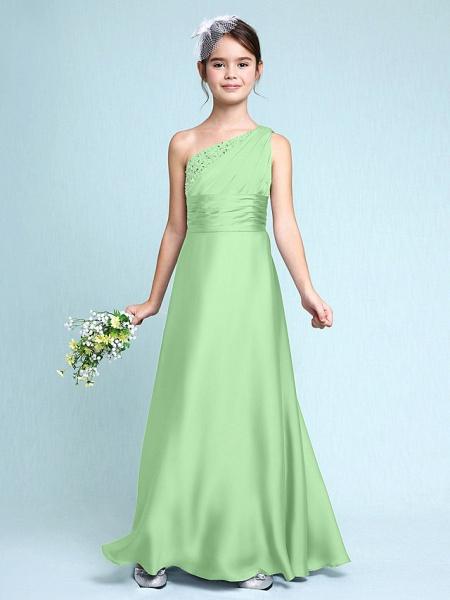 Sheath / Column One Shoulder Floor Length Chiffon Satin Junior Bridesmaid Dress With Ruched / Side Draping / Natural_30