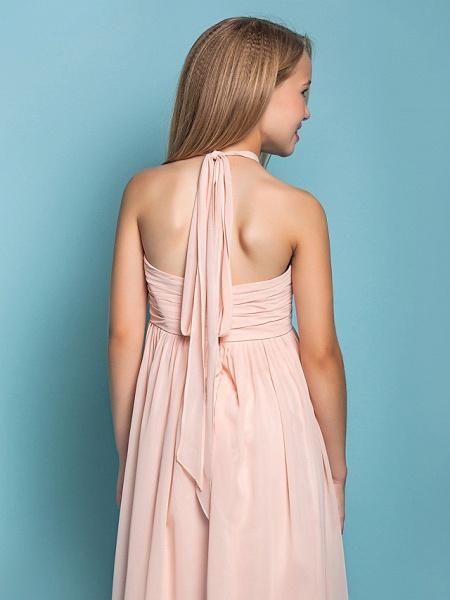 Sheath / Column Halter Neck Floor Length Chiffon Junior Bridesmaid Dress With Ruched / Spring / Summer / Fall / Apple / Hourglass_6