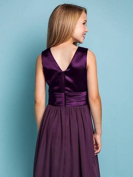 Sheath / Column V Neck Floor Length Chiffon Junior Bridesmaid Dress With Flower / Spring / Summer / Fall / Apple / Hourglass_6