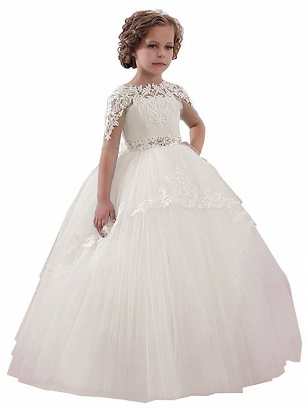 Princess Floor Length Wedding / Birthday / Pageant Flower Girl Dresses - Lace / Tulle Short Sleeve Jewel Neck With Lace / Appliques / Crystals / Rhinestones_5