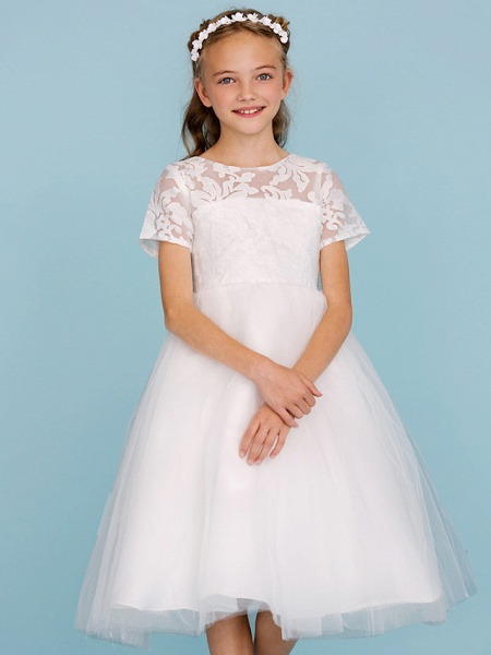 Princess / A-Line Crew Neck Knee Length Lace / Tulle Junior Bridesmaid Dress With Pleats / Wedding Party / See Through_5