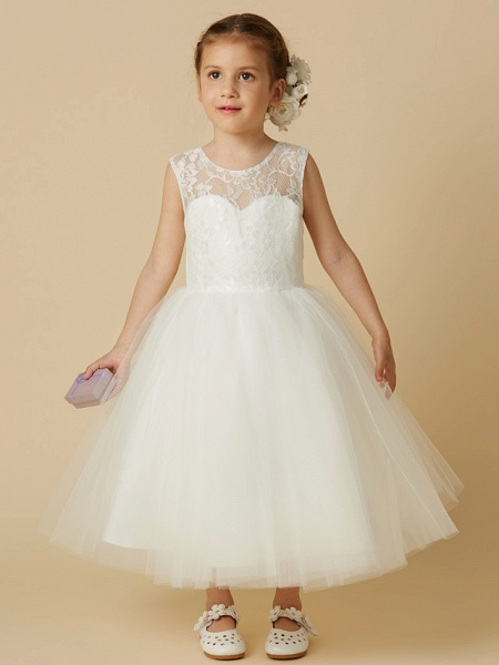 Princess Tea Length Wedding / First Communion Flower Girl Dresses - Lace / Tulle Sleeveless Jewel Neck With Lace_1