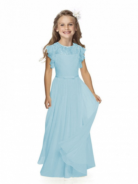Sheath / Column Long Length Party / Birthday / First Communion Flower Girl Dresses - Chiffon / Lace Short Sleeve Jewel Neck With Lace / Butterfly_10