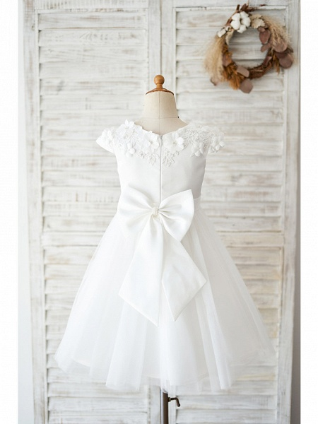 Ball Gown Knee Length Wedding / Birthday Flower Girl Dresses - Satin / Tulle Cap Sleeve Jewel Neck With Petal / Lace / Bow(S)_2