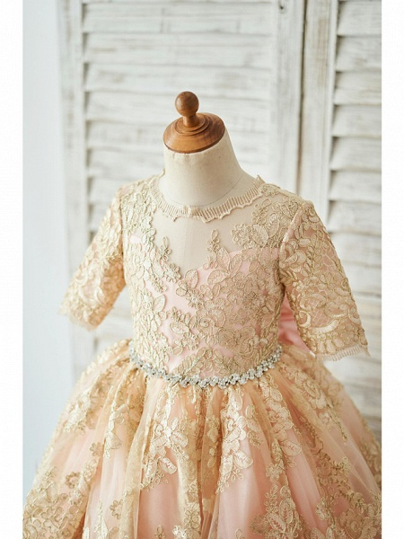 Ball Gown Knee Length Wedding / Birthday Flower Girl Dresses - Lace Half Sleeve Jewel Neck With Bows / Belt_3