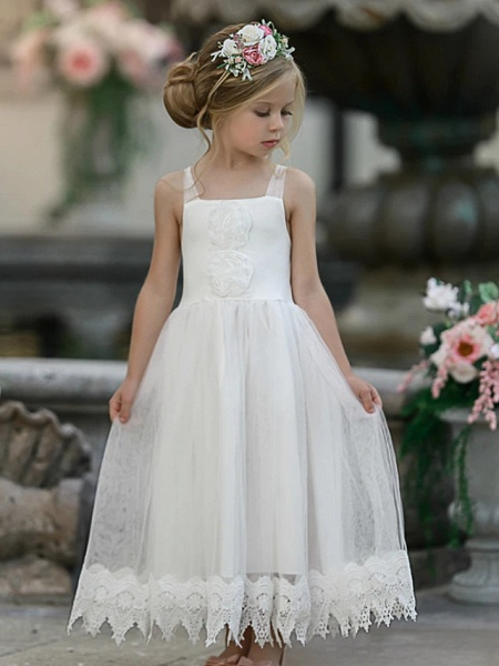 Princess / A-Line Knee Length Wedding / Party Flower Girl Dresses - Lace Sleeveless Jewel Neck With Tier / Solid_1