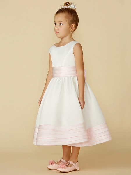 A-Line Tea Length Wedding / First Communion Flower Girl Dresses - Satin Sleeveless Jewel Neck With Sash / Ribbon / Bow(S)_3