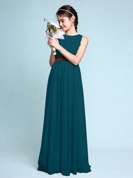Sheath / Column Scoop Neck Floor Length Chiffon Junior Bridesmaid Dress With Draping / Natural_36