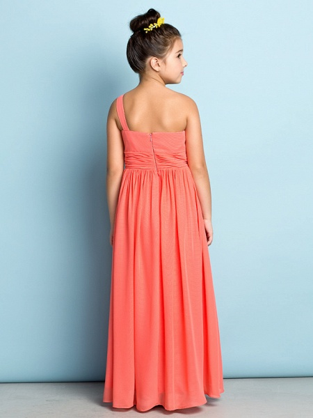 A-Line One Shoulder Ankle Length Chiffon Junior Bridesmaid Dress With Side Draping / Natural / Mini Me_5