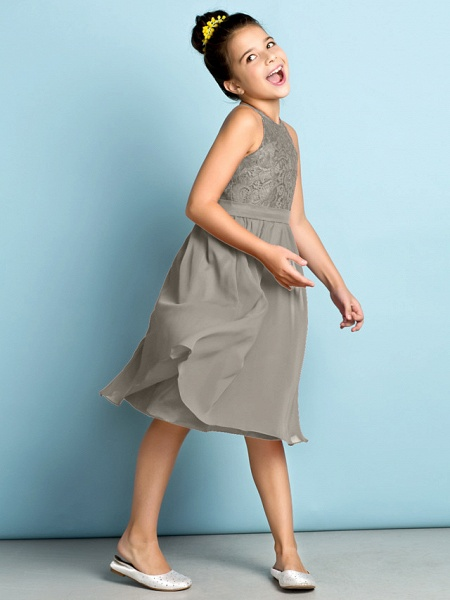 A-Line Jewel Neck Knee Length Chiffon / Lace Junior Bridesmaid Dress With Lace / Natural / Mini Me_11