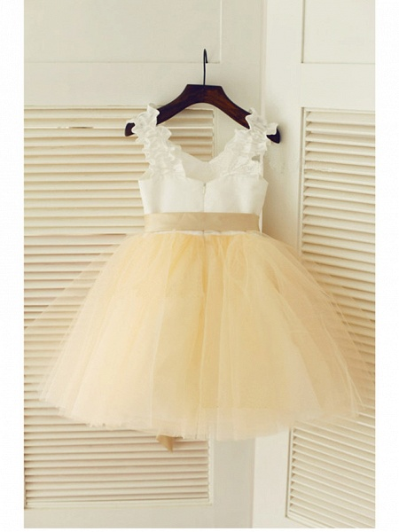 A-Line Tea Length Wedding / First Communion / Pageant Flower Girl Dresses - Satin / Tulle Sleeveless Strapless With Belt_2