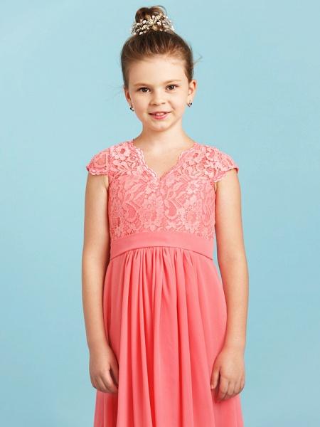 Princess / A-Line V Neck Floor Length Chiffon / Lace Junior Bridesmaid Dress With Sash / Ribbon / Pleats / Wedding Party_4