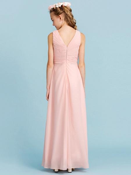 Sheath / Column V Neck Floor Length Chiffon Junior Bridesmaid Dress With Criss Cross / Pleats / Wedding Party / Open Back_2