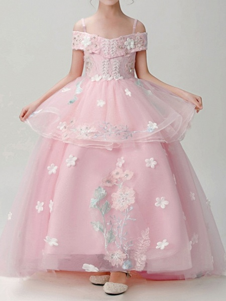 Ball Gown Sweep / Brush Train Pageant Flower Girl Dresses - Polyester Short Sleeve Spaghetti Strap With Appliques_3