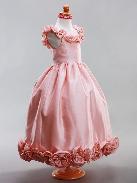A-Line / Princess Floor Length Flower Girl Dress - Taffeta Sleeveless Scoop Neck With Draping / Flower By Lan Ting Bride? / Spring / Summer / Fall / Winter / Wedding Party_3