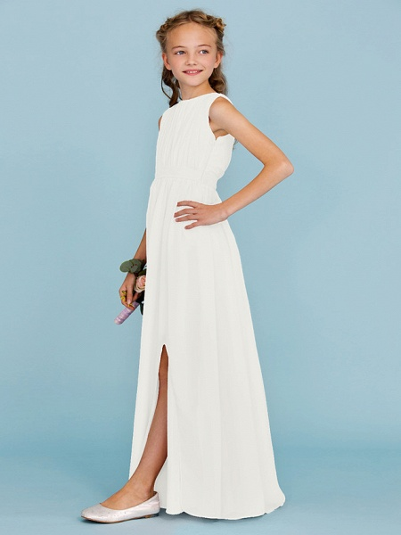 Sheath / Column Crew Neck Floor Length Chiffon Junior Bridesmaid Dress With Sash / Ribbon / Draping / Split Front / Wedding Party / Furcal_50