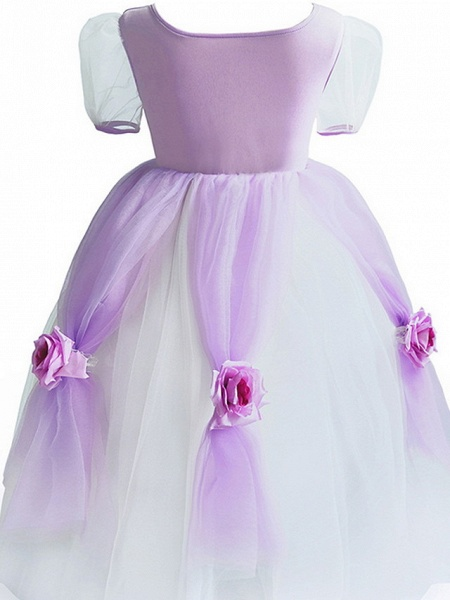 Princess Floor Length Pageant Flower Girl Dresses - Polyester Short Sleeve Scoop Neck With Splicing_6