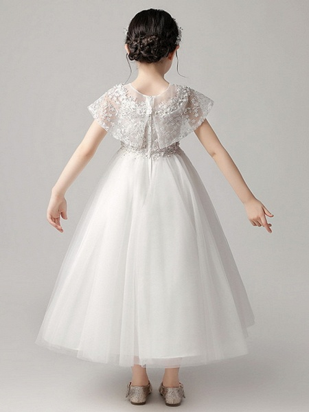 Princess Ankle Length Party / Pageant Flower Girl Dresses - Polyester Short Sleeve Jewel Neck With Lace_5