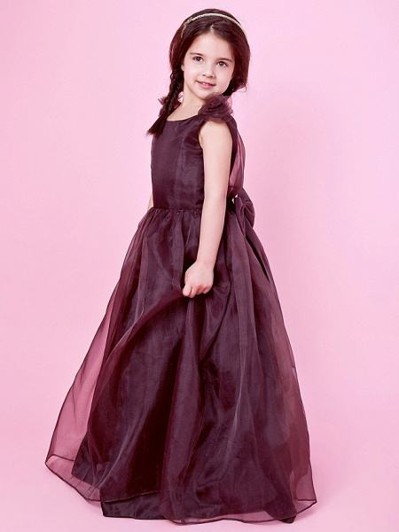 Princess / A-Line Floor Length Wedding Party Organza / Satin Sleeveless Jewel Neck With Bow(S) / Draping / Flower / Spring / Fall / Winter_3