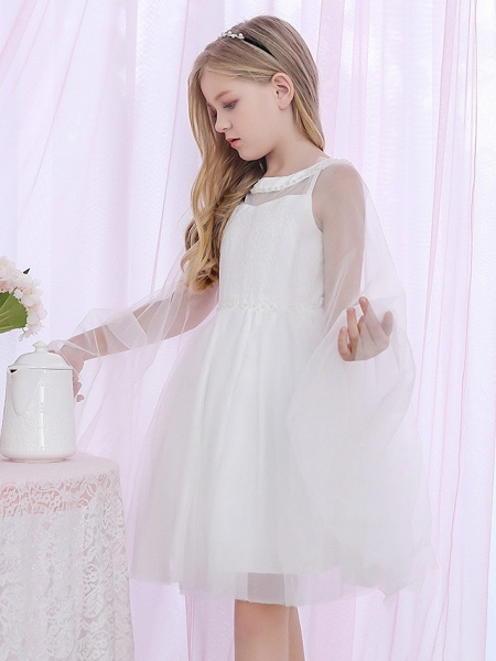 Princess / Two Piece / Ball Gown Medium Length Wedding / Event / Party Flower Girl Dresses - Lace / Satin / Tulle Sleeveless Jewel Neck With Pearls / Beading / Solid_5