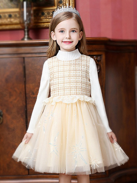 Princess / Ball Gown Knee Length Wedding / Party Flower Girl Dresses - Tulle Sleeveless Jewel Neck With Ruffles / Splicing_2