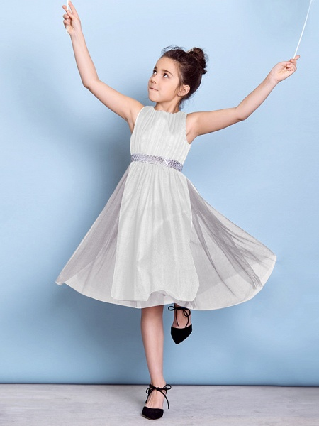 A-Line Jewel Neck Knee Length Tulle Junior Bridesmaid Dress With Sash / Ribbon / Sequin / Draping / Natural_38