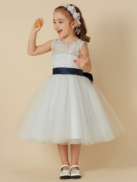 A-Line Knee Length Lace / Tulle Sleeveless Scoop Neck With Sash / Ribbon / Bow(S)_1