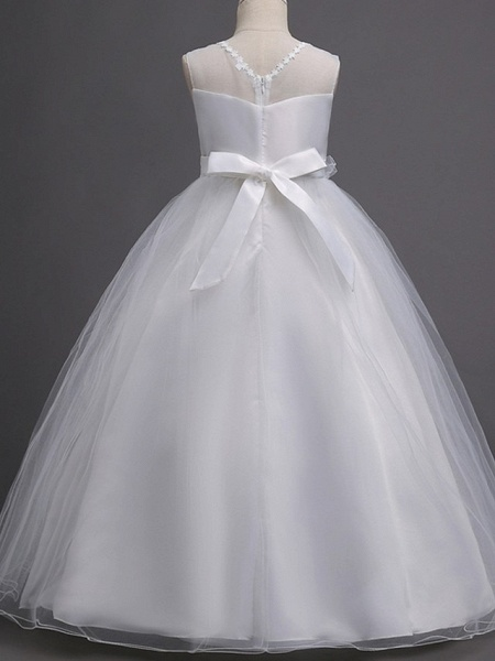 Princess / Ball Gown Floor Length Wedding / Party Flower Girl Dresses - Tulle Sleeveless Illusion Neck With Bow(S) / Appliques_7