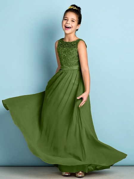 A-Line Scoop Neck Floor Length Chiffon / Lace Junior Bridesmaid Dress With Lace / Natural / Mini Me_41
