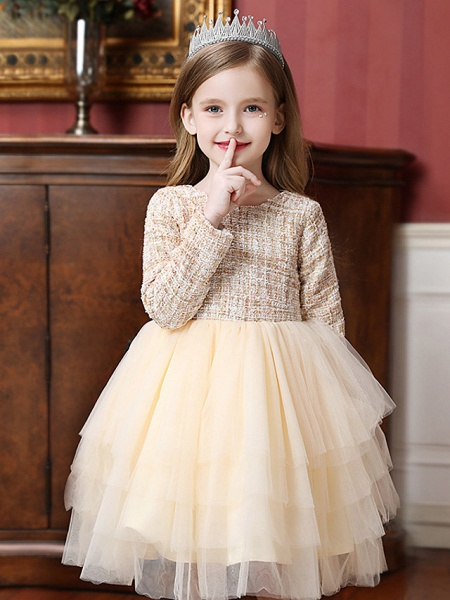 Princess / Ball Gown Knee Length Wedding / Party Flower Girl Dresses - Tulle Long Sleeve Jewel Neck With Ruffles / Tier_2