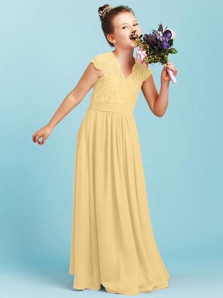 Princess / A-Line V Neck Floor Length Chiffon / Lace Junior Bridesmaid Dress With Sash / Ribbon / Pleats / Wedding Party_36