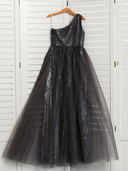 A-Line One Shoulder Maxi Tulle Junior Bridesmaid Dress With Beading_4