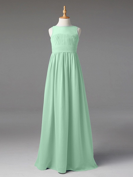 Princess / A-Line Jewel Neck Floor Length Chiffon Junior Bridesmaid Dress With Sash / Ribbon / Pleats_48
