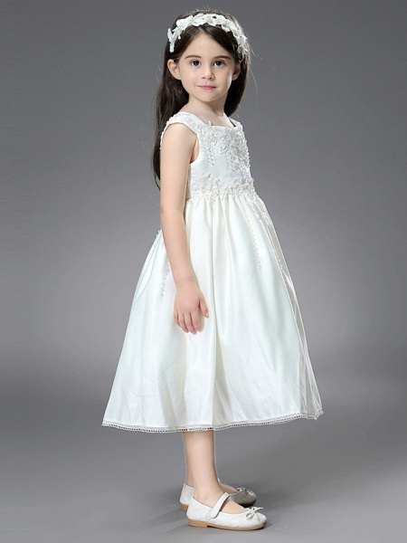 Princess / Ball Gown Ankle Length / Royal Length Train Wedding / First Communion Flower Girl Dresses - Satin Sleeveless Square Neck With Belt / Beading / Appliques_5