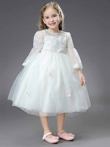 Princess / Ball Gown Ankle Length / Royal Length Train Wedding / First Communion Flower Girl Dresses - Tulle / Matte Satin Long Sleeve Jewel Neck With Beading / Appliques / Butterfly_3