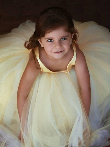Princess / Ball Gown Floor Length Wedding / Party Flower Girl Dresses - Satin / Tulle Sleeveless V Neck With Pleats / Solid_2