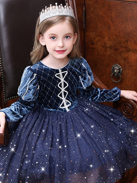 Princess / Ball Gown Knee Length Wedding / Party Flower Girl Dresses - Tulle Long Sleeve Jewel Neck With Paillette_3