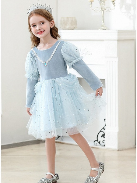 Princess / Ball Gown Knee Length Wedding / Party Flower Girl Dresses - Tulle Long Sleeve Jewel Neck With Crystals / Paillette_3